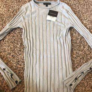 TOPSHOP Ribbed Light Blue Sweater